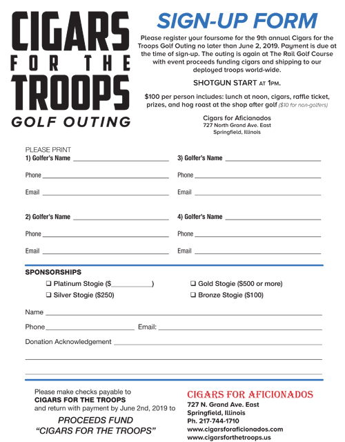 2019 Cigars for the Troops Sing-Up Sheet